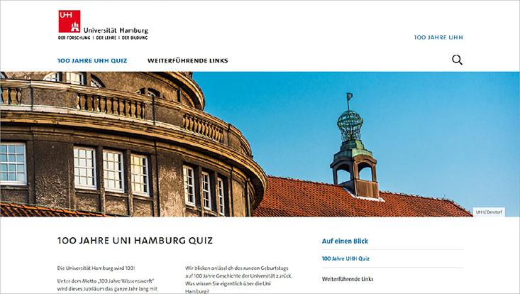 Startseite des 100UHH-Quiz zum Jubiläum der Universität Hamburg 2019