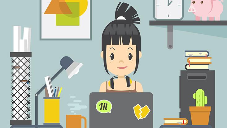 Die Vektorgrafik zeigt ein junges Mädchen vor einem Laptop