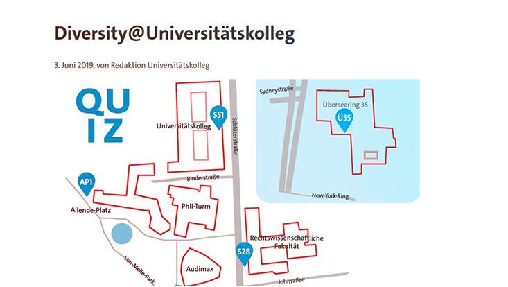 Kartenausschnitt des Uni-Campus mit eingezeichneten Stationen