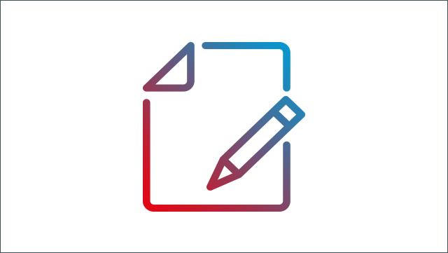 Das Icon zeigt ein Blatt Papier und einen Stift.