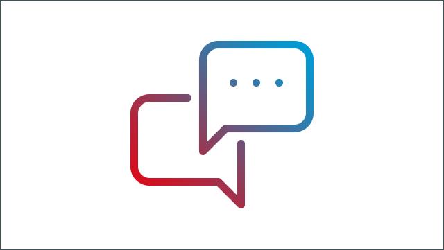 Das Icon zeigt zwei Sprechblasen.