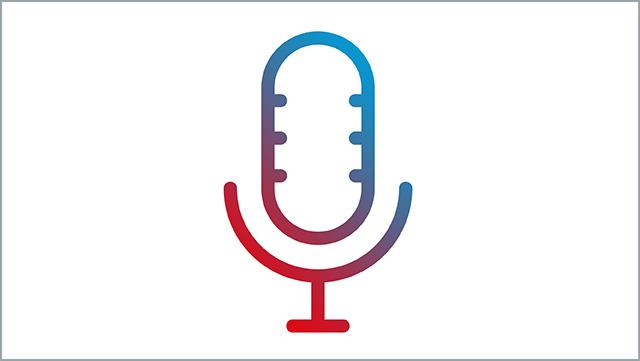 Das Icon zeigt ein Mikrofon auf einem Ständer.