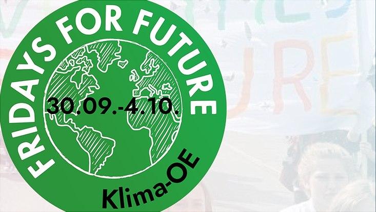 Das Logo der Fridays for Future Bewegung mit dem Zeitraum der Klima Einführungswoche in der Mitte