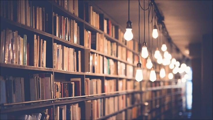 Eine Bücherwand, die von oben von einer Reihe Glühbirnen beleuchtet wird.