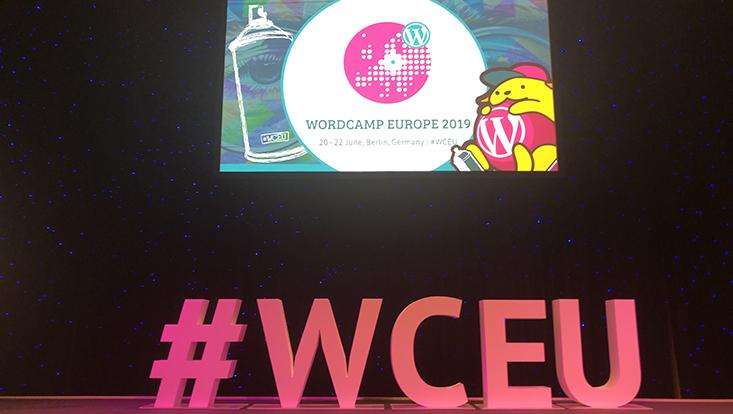 Das Bild zeigt den Hashtag des Wordcamp Europe 2019.