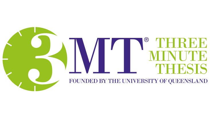 "Logo der Veranstaltung ""Three Minute Thesis"" mit dem Hinweis ""founded by the University of Queensland"""