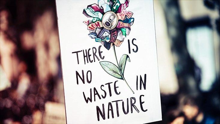 """gezeichnetes Plakat u.a. mit Getränkedose und Aufschrift """"There is no waste in nature"""""""