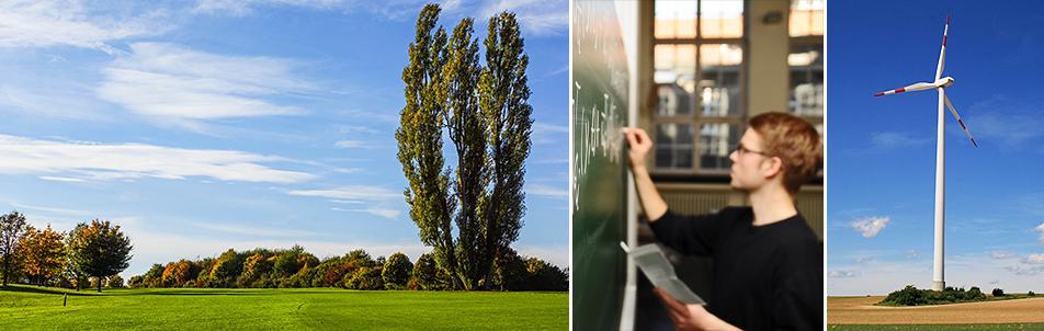 Collage zum Thema Nachhaltigkeit: Windrad, Wald und Student an einer Tafel