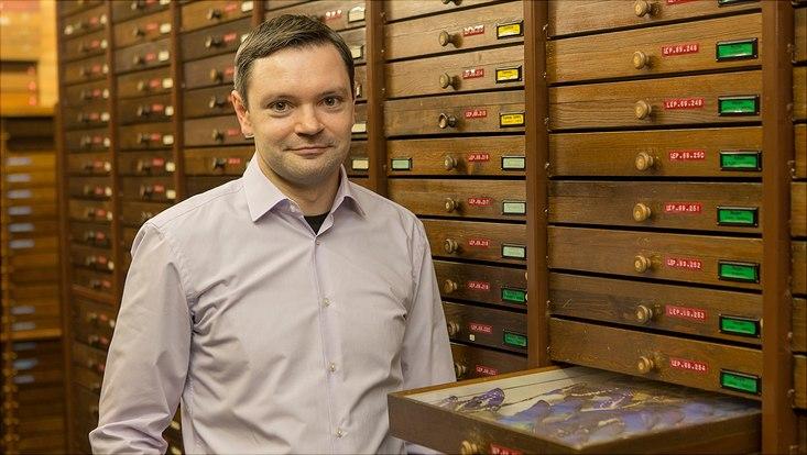 Martin Kubiak in der entomologischen Sammlung