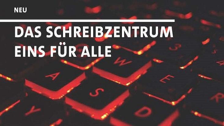 """Das Bild zeigt eine Computertastatur und den Schriftzug """"Das Schreibzentrum eins für alle"""""""""""