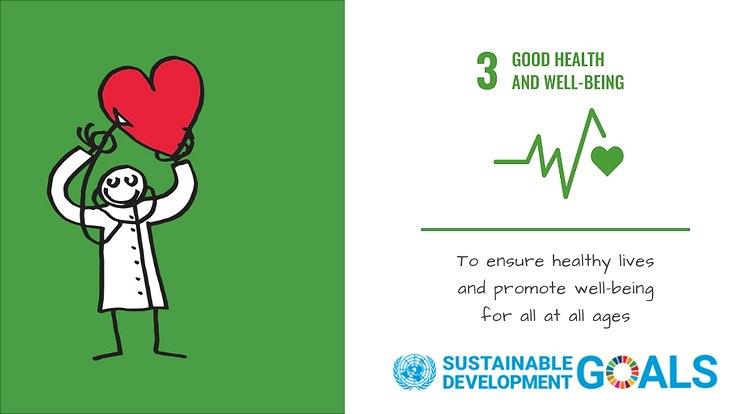 Ein Bild zum Sustainablie Development Goal 3 der Vereinten Nationen: Gesundheit und Wohlergehen.