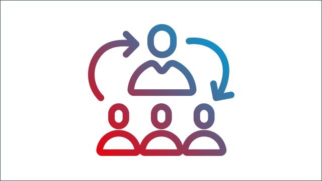 Das Bild zeigt ein Icon für eine Gruppe von Menschen im Austausch