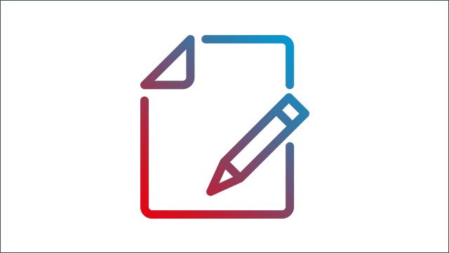 Das Bild zeigt ein Icon für Stift und Papier