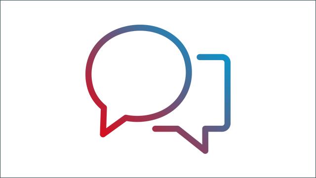 Das Bild zeigt ein Icon für zwei unterschiedliche Sprechblasen