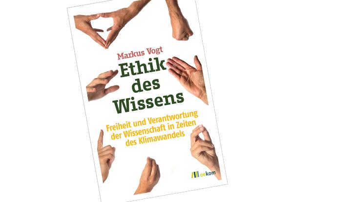 Buchcover mit Händen die auf den Titel Ethik des Wissens zeigen