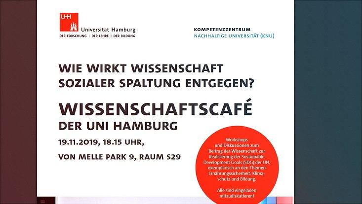 Ein Ausschnitt des Plakats für das Wissenschaftscafé am 19.11.2019 an der Universität Hamburg