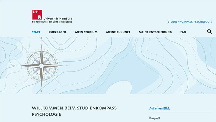 Das Bild zeigt die Startseite vom Psychologie-Check der Universität Hamburg.