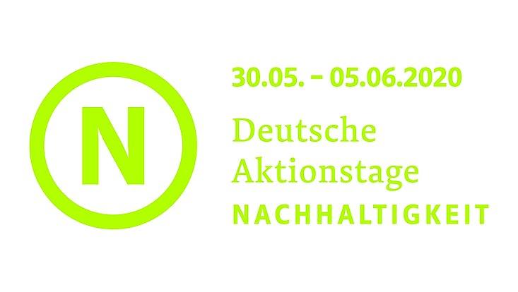 Das Logo der Deutschen Aktionstage Nachhaltigkeit samt Zeitraum, 30.05. bis 05.06.2020 sind abgebildet.