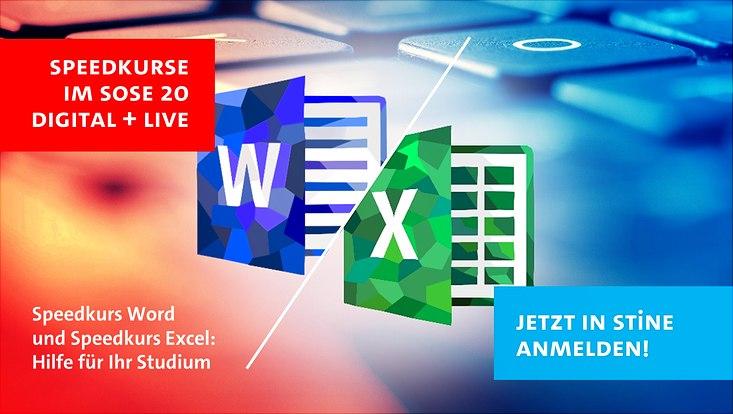 Schaubild Speedkurse Word und Excel im Sommersemester 2020 live und digital